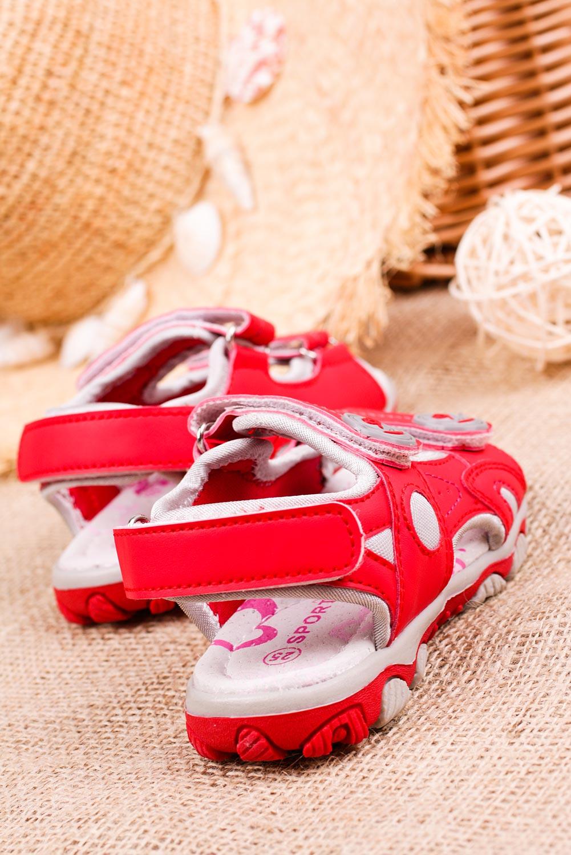 Czerwone sandały na rzepy Casu CS9002 czerwony