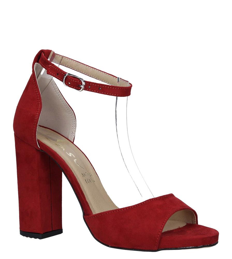 Czerwone sandały na szerokim słupku z zakrytą piętą i paskiem wokół kostki Casu 1590