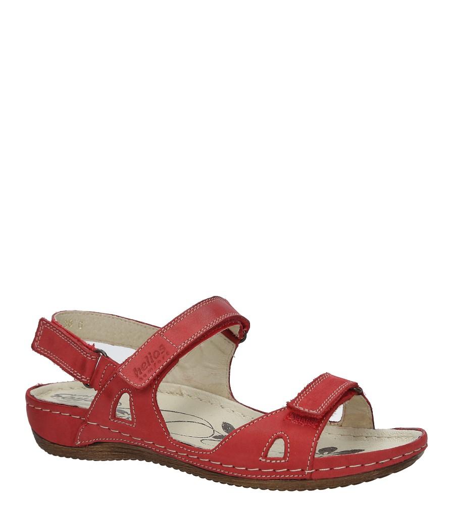 Czerwone sandały skórzane na koturnie Helios 205