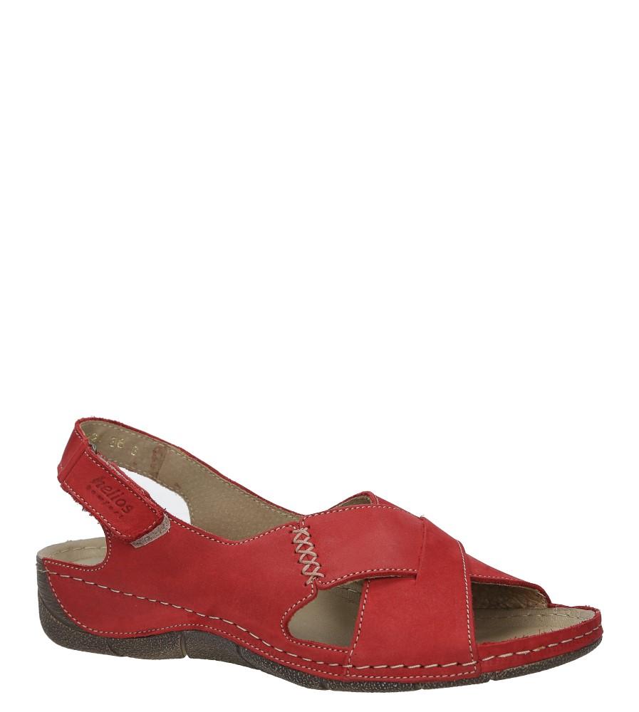 Czerwone sandały skórzane na koturnie Helios 229-1