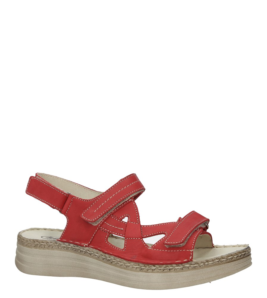 Czerwone sandały skórzane na platformie Helios 239