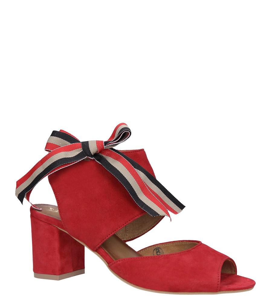 Czerwone sandały skórzane zabudowane z kokardą na słupku Maciejka 04038-08/00-5 model 04038-08/00-5