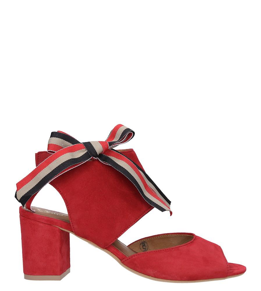 Czerwone sandały skórzane zabudowane z kokardą na słupku Maciejka 04038-08/00-5 wysokosc_platformy 0.5 cm