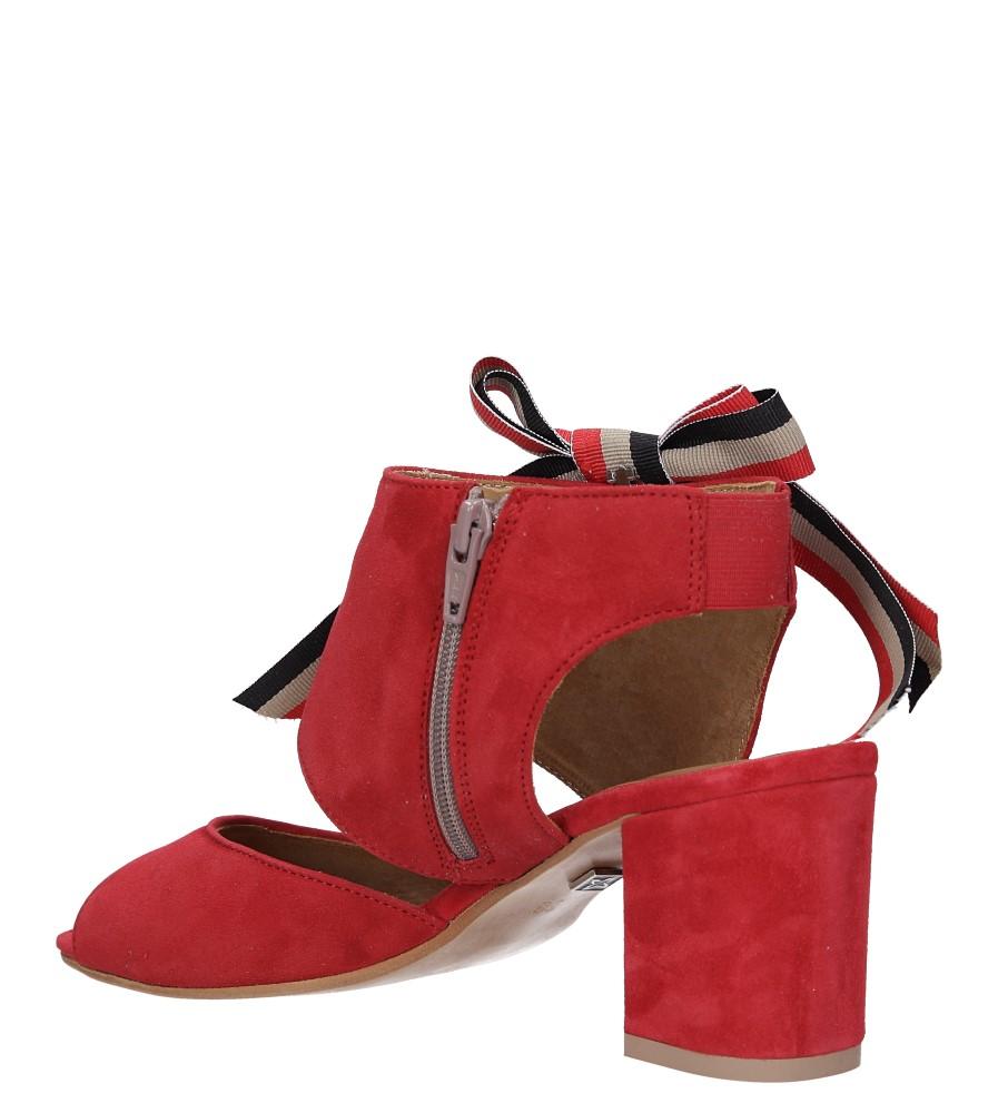 Czerwone sandały skórzane zabudowane z kokardą na słupku Maciejka 04038-08/00-5 wys_calkowita_buta 14 cm