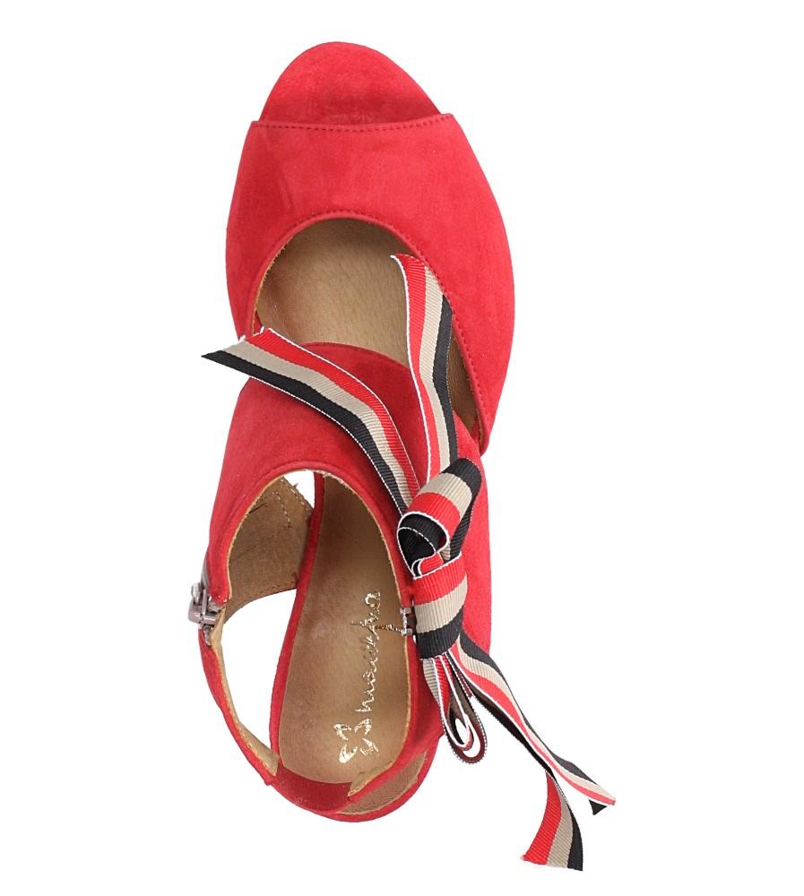 Czerwone sandały skórzane zabudowane z kokardą na słupku Maciejka 04038-08/00-5 wierzch skóra naturalna - zamsz