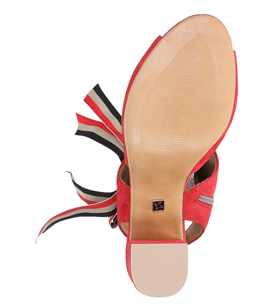 Czerwone sandały skórzane zabudowane z kokardą na słupku Maciejka 04038-08/00-5 wnetrze skóra