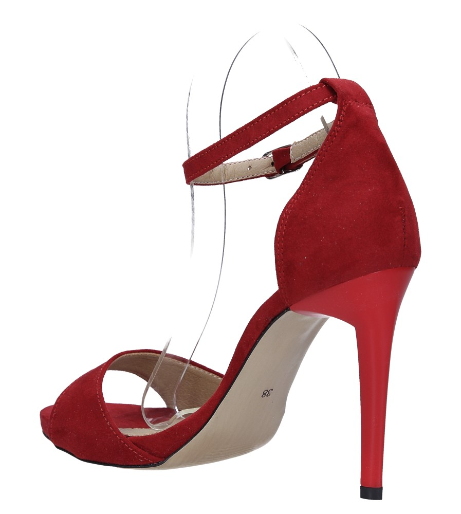 Czerwone sandały szpilki z zakrytą piętą i paskiem wokół kostki Casu 1590/1 wys_calkowita_buta 19 cm