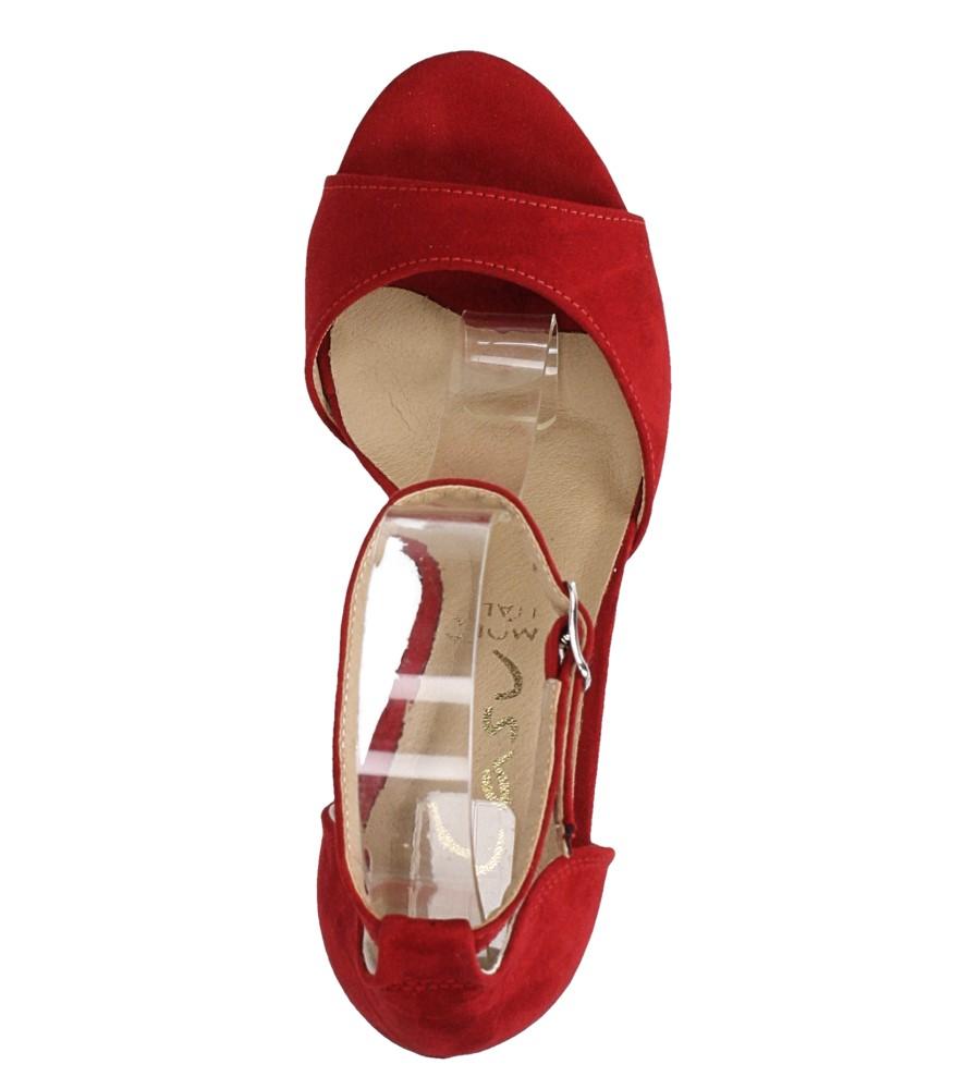 Czerwone sandały szpilki z zakrytą piętą i paskiem wokół kostki Casu 1590/1 wierzch zamsz ekologiczny