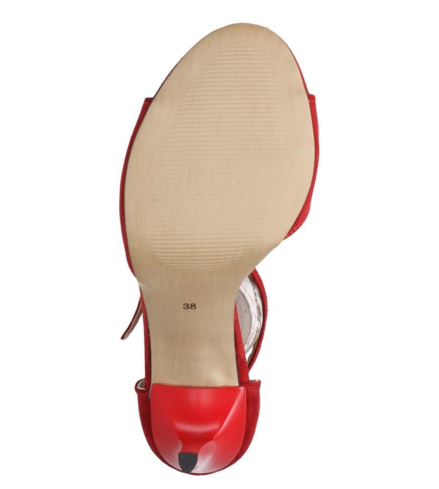 Czerwone sandały szpilki z zakrytą piętą i paskiem wokół kostki Casu 1590/1 wnetrze skóra ekologiczna