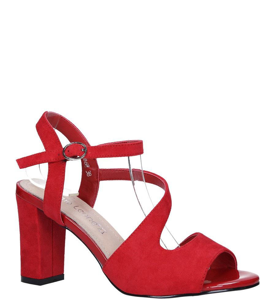 Czerwone sandały z paskiem przez środek na szerokim słupku Sergio Leone SK868 model SK868