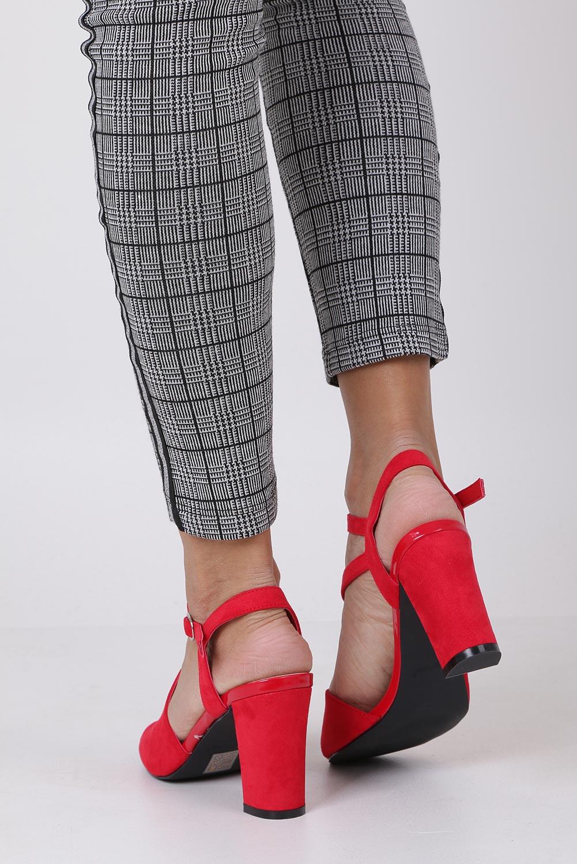 Czerwone sandały z paskiem przez środek na szerokim słupku Sergio Leone SK868 wysokosc_obcasa 9.5 cm