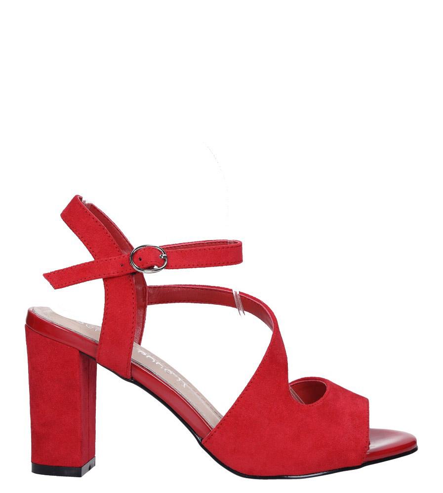 Czerwone sandały z paskiem przez środek na szerokim słupku Sergio Leone SK868 wysokosc_platformy 0.5 cm