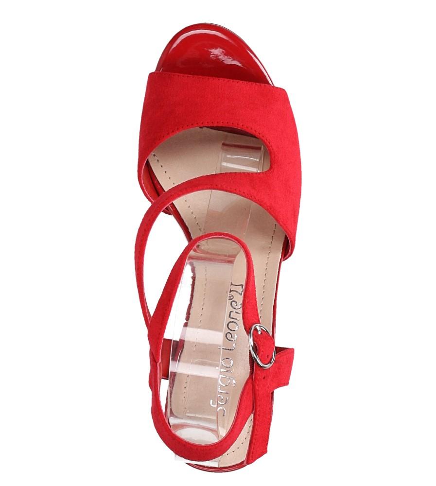 Czerwone sandały z paskiem przez środek na szerokim słupku Sergio Leone SK868 wierzch zamsz ekologiczny