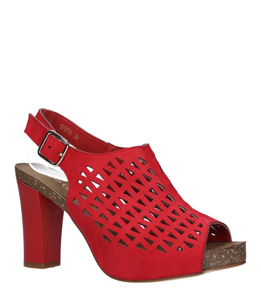 Czerwone sandały zabudowane ażurowe na słupku Sergio Leone SK850