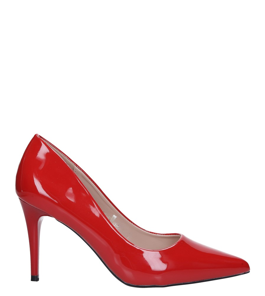Czerwone szpilki czółenka lakierowane ze skórzaną wkładką Casu D189X5/RP wys_calkowita_buta 15.5 cm