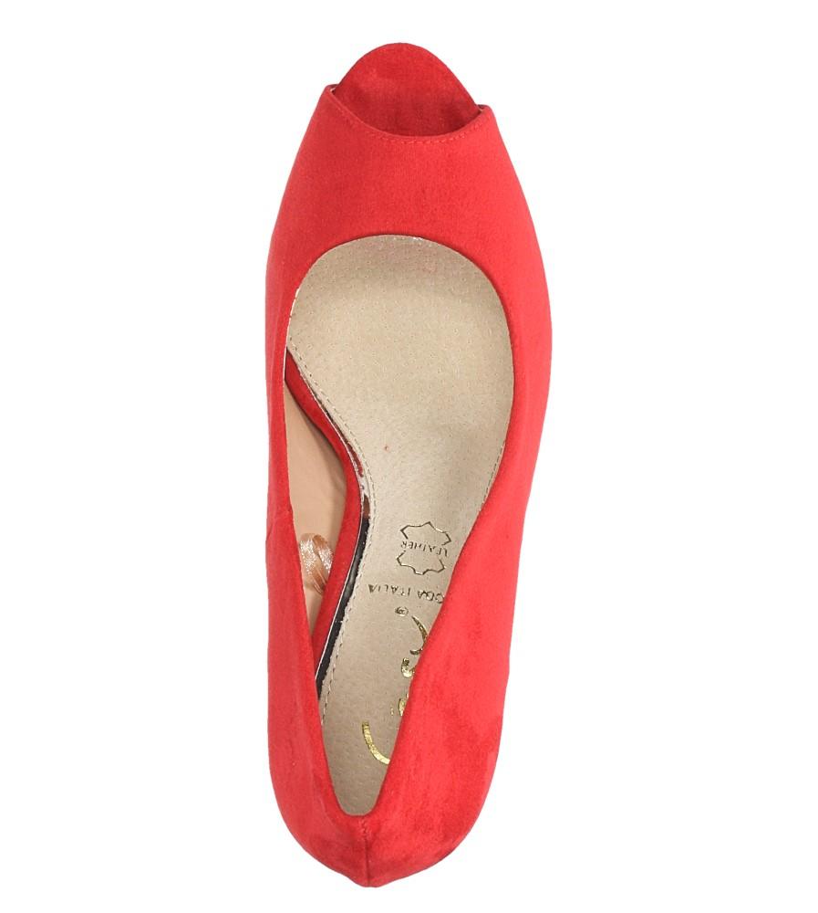 Czerwone szpilki czółenka peep toe ze skórzaną wkładką Casu N189X4/R wys_calkowita_buta 17 cm