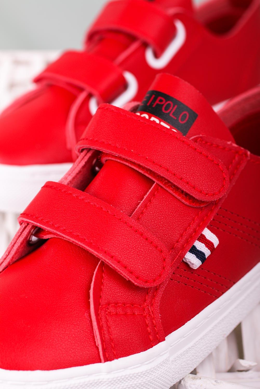 Czerwone trampki na rzepy Casu 20W9/R