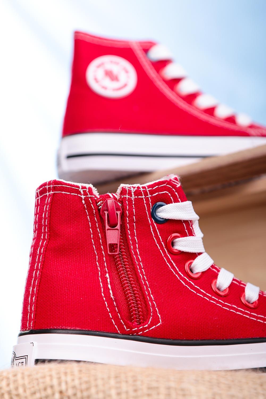Czerwone trampki wysokie sznurowane Casu 082K czerwony