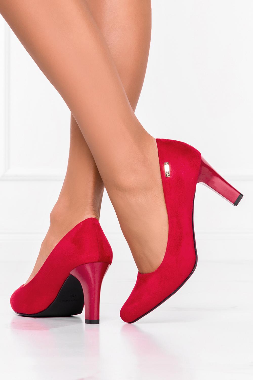 Czółenka Sergio Leone na słupku czerwone 1459 ciemny czerwony
