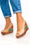 Beżowe sandały espadryle na kolorowym koturnie polska skóra Casu 1642 beżowy