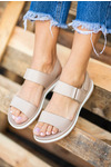 Beżowe sandały płaskie na rzepy Casu N20X2/BEE beżowy
