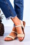 Beżowe sandały płaskie z błyszczącym paskiem Casu K20X2/BE beżowy