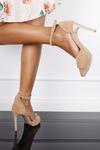 Beżowe sandały szpilki z zakrytą piętą i paskiem wokół kostki Casu 1590/1 ciemny beżowy