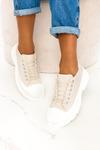 Beżowe trampki na platformie buty sportowe sznurowane Casu ZY202-8