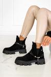 Czarne botki na platformie z ozdobą na kostce Casu NC1199P