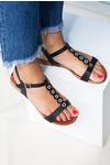 Czarne sandały płaskie z paskiem przez środek i cyrkoniami Casu K19X10/BN czarny