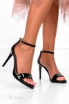 Czarne sandały szpilki błyszczące z zakrytą piętą pasek wokół kostki polska skóra Casu 2613-0/8