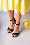 Czarne sandały szpilki z zakrytą piętą i paskiem wokół kostki Casu 1590/1 czarny