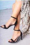 Czarne sandały szpilki z zakrytą piętą paskiem wokół kostki ze skórzaną wkładką Casu A20X2/B czarny