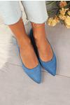 Niebieskie baleriny Casu ze skórzaną wkładką D20X6/BL niebieski