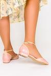 Różowe baleriny Casu t-bar z paskiem wokół kostki D21X12/P różowy