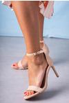 Różowe sandały szpilki błyszczące z zakrytą piętą paskiem wokół kostki ze skórzaną wkładką Casu A20X2/P jasny różowy