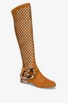 Rude kozaki ażurowe za kolano z łańcuchem na niskim obcasie polska skóra Casu 4047-2-M