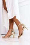 Złote sandały Casu z zakrytą piętą pasek wokół kostki wzorek ER21X15/G złoty