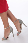 Złote sandały szpilki karnawałowe brokatowe z paskiem wokół kostki Casu złoty