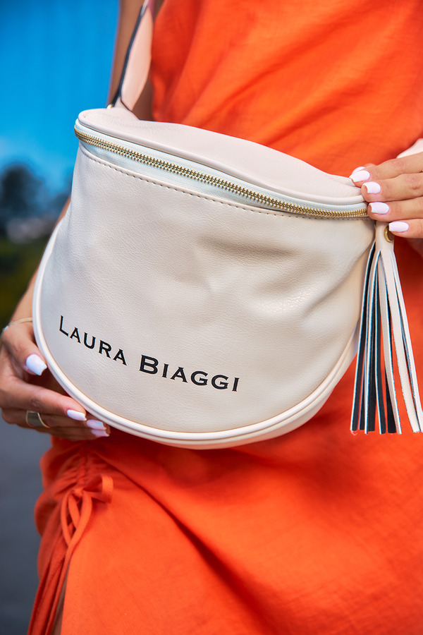 Beżowa torebka listonoszka Laura Biaggi KB12