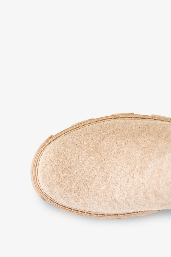 Beżowe botki na platformie z ozdobą na kostce Casu NC1199P