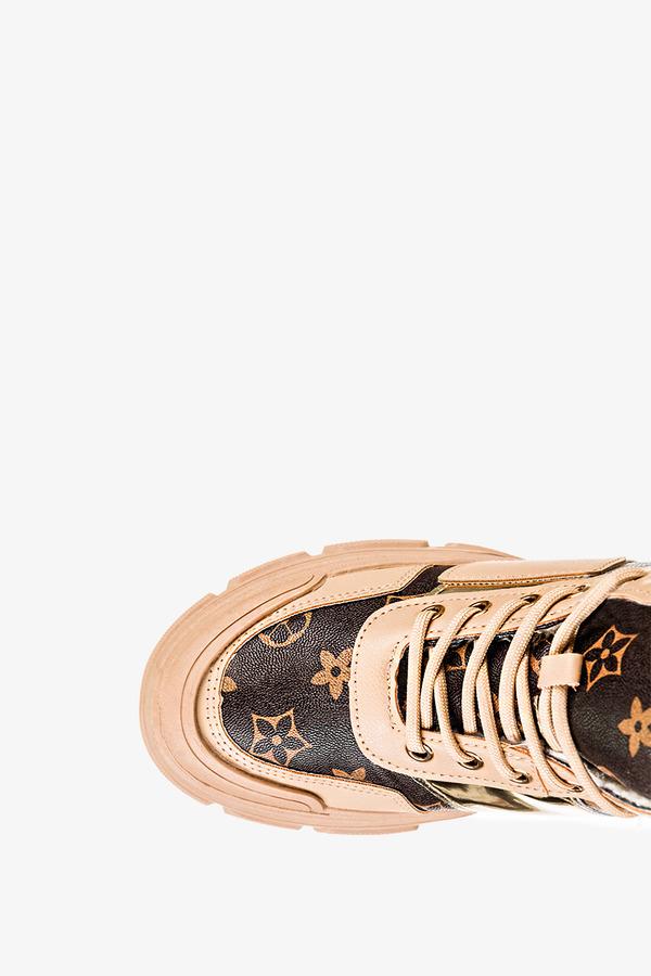 Beżowe botki sneakersy z futerkiem sznurowane Casu MB-113