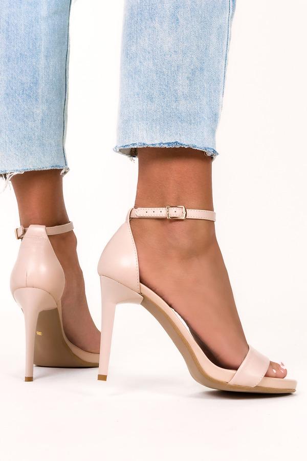Beżowe sandały szpilki błyszczące z zakrytą piętą pasek wokół kostki polska skóra Casu 2613-0/8