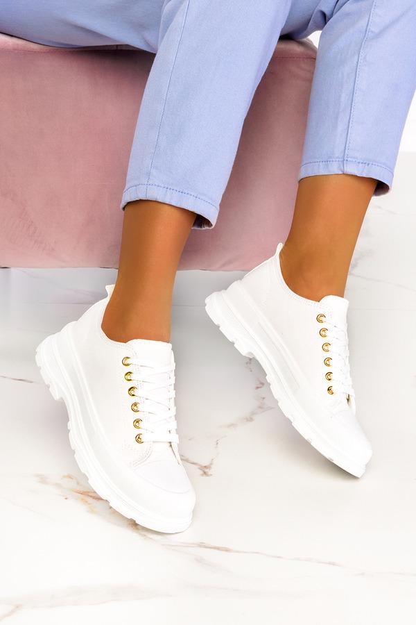 Białe trampki na platformie buty sportowe sznurowane Casu ZY202-9/7