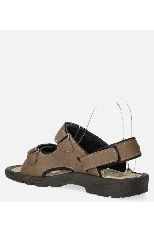 Brązowe sandały na rzepy Casu B-67 brązowy