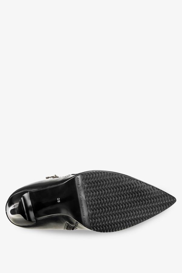 Czarne botki na szpilce z ozdobnym suwakiem polska skóra Casu 2145