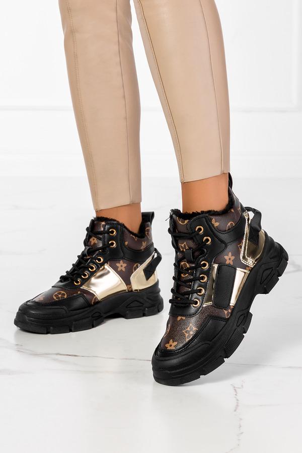 Czarne botki sneakersy z futerkiem sznurowane Casu MB-113