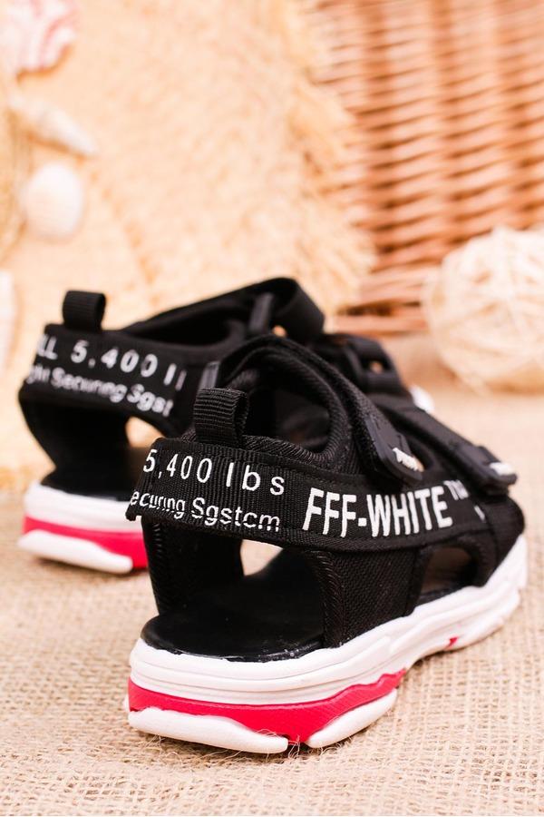 Czarne sandały na rzepy Casu 123B czarny