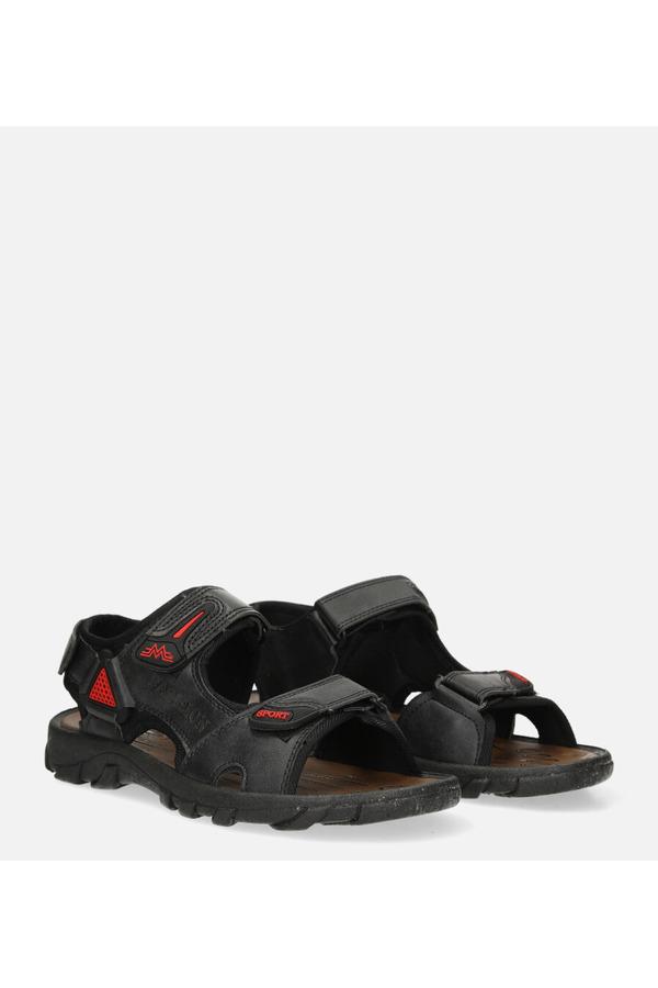 Czarne sandały na rzepy Casu 3127 czarny
