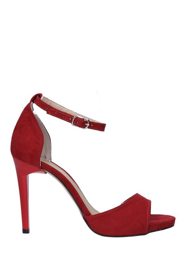 Czerwone sandały szpilki z zakrytą piętą i paskiem wokół kostki Casu 1590/1 czerwony
